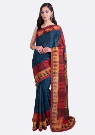 Navy Blue Multi-Color Silk Digital Printed Traditional Saree