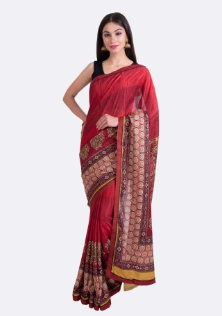 Cherry Red Multi-Color Silk Digital Printed Traditional Saree