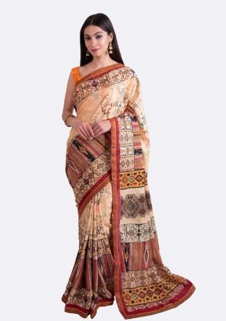 Beige Multi-Color Silk Digital Printed Traditional Saree