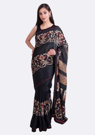 Black Multi-Color Silk Digital Printed Traditional Saree