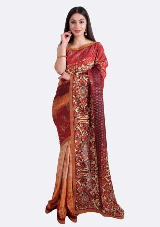Beige Maroon Multi-Color Silk Digital Printed Traditional Saree