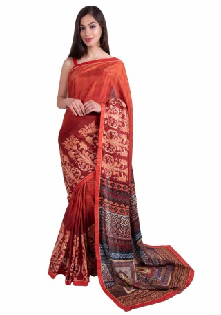 Rust Multi-Color Silk Digital Printed Traditional Saree