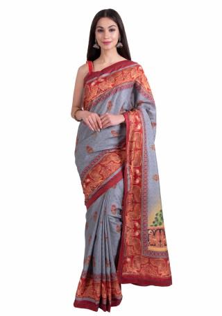 Grey-Red Multi-Color Silk Digital Printed Traditional Saree