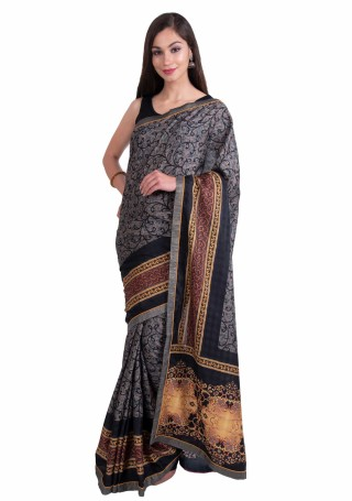 Grey Multi-Color Silk Digital Printed Traditional Saree