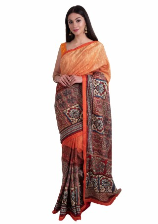 Peach Multi-Color Silk Digital Printed Traditional Saree