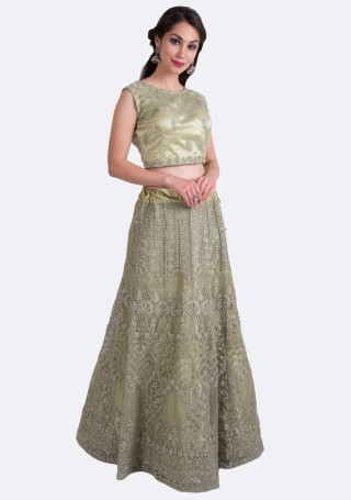 Greenish Gold Heavy Coding Embroidered Net Lehenga Choli