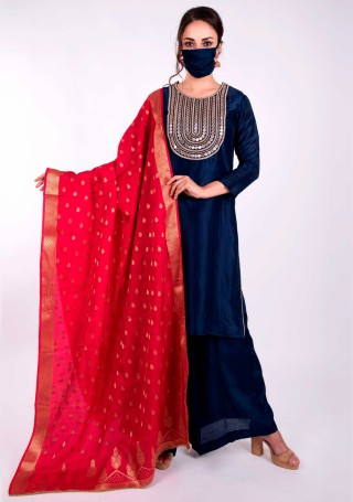 Deep Navy Blue And Fuchsia Pink Embroidered Salwar Suit Set