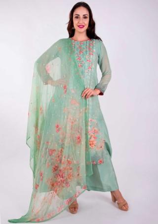Digital Printed Aqua Green Georgette Salwar Suit Set