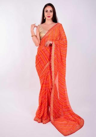 Orange Georgette Bandhej Print Saree With Foil Work