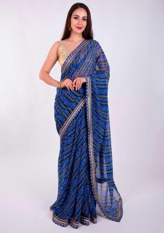 Royal Blue Georgette Bandhej Print Saree With Foil Work