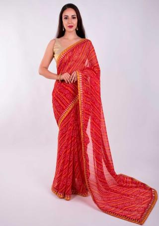 Scarlet Red Georgette Bandhej Print Saree With Foil Work