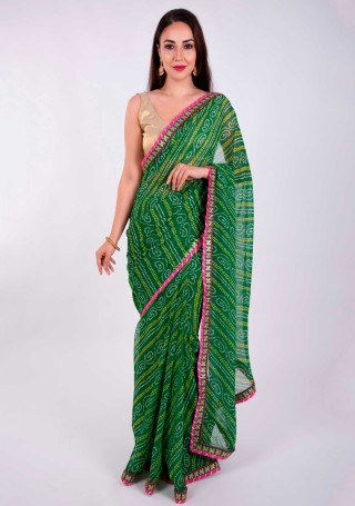Green Georgette Bandhej Print Saree With Foil Work