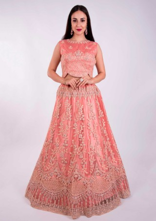 Coral Heavy Coding Embroidered Net Lehenga Choli