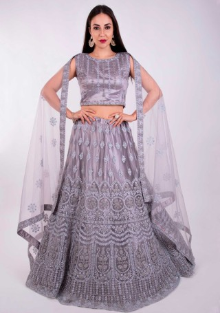 Mauve Grey Heavy Coding Embroidered Net Lehenga Choli