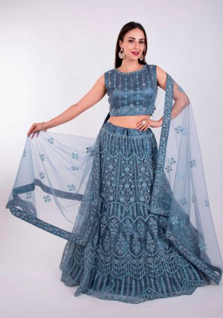 Steel Blue Heavy Coding Embroidered Net Lehenga Choli