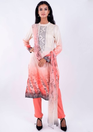 Cream and Coral Digital Printed Kurta Pant Set