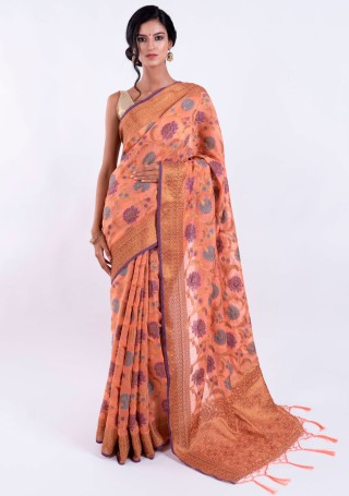 Banarasi Cotton Silk Peach Saree with Multicolor Resham Floral Zaal & Zari Border