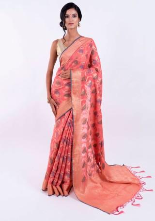 Banarasi Cotton Silk Coral Saree with Multicolor Resham Floral Zaal & Zari Border