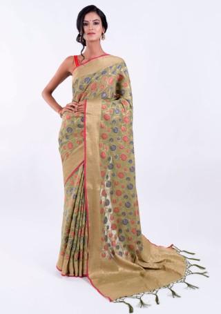 Banarasi Cotton Silk Green Saree with Multicolor Resham Floral Zaal & Zari Border