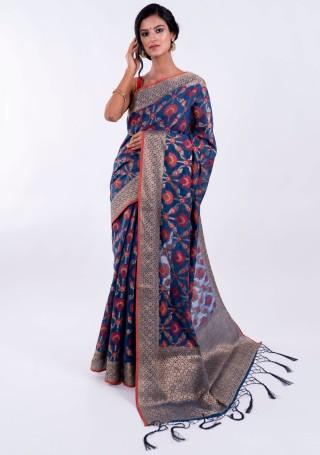 Banarasi Cotton Silk Royal Blue Saree with Multicolor Resham Floral Zaal & Zari Border