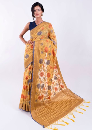 Banarasi Cotton Silk Yellow Saree with Multicolor Resham Floral Zaal & Zari Border