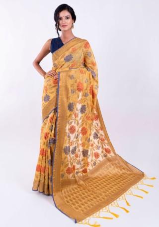 Banarasi Cotton Silk Yellow Saree with Multicolor Resham Floral Zaal & Zari Border