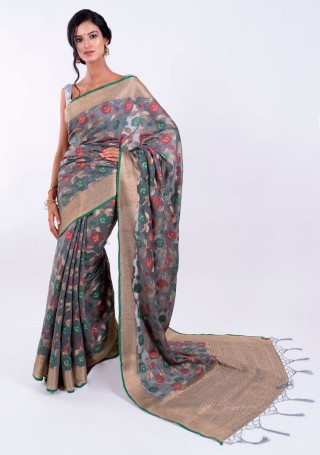 Banarasi Cotton Silk Deep Grey Saree with Multicolor Resham Floral Zaal & Zari Border