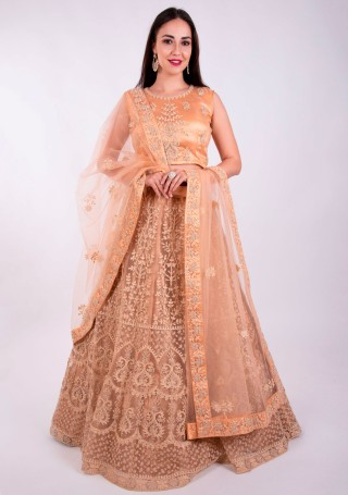 Peach Heavy Coding Embroidered Net Lehenga Choli