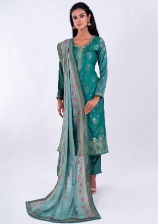 Turquoise Blue Muslin Jacquard Kurta Pant with Heavy Embroidered Dupatta
