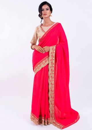 Hot Pink Self Textured Silk Saree with Embroidered Border