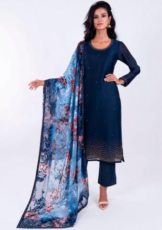 Prussian Blue embellished Georgette satin Suit Set with Digital printed Dupatta