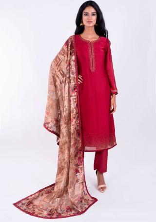 Red wine embellished Georgette satin Suit Set with Digital printed Dupatta