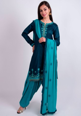 Teal and Turquoise Embroidered Salwar Suit Set