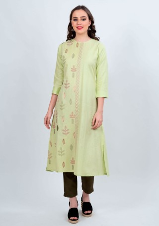 Pistachio Green Printed Kurti with Straight Olive Pant