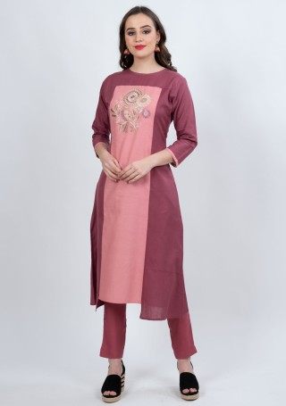 Pink-Plum A-Line Kurti with Straight Pant