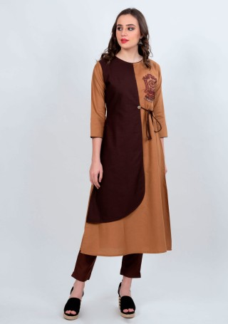 Brown A-line Kurti with Straight Pant