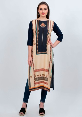 Opulent Peach-Navy Blue Coloured Traditional Printed Crepe Kurti