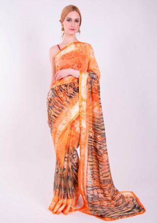 Orange Light Weight Cotton Satin Abstract Printed Gorgeous Saree