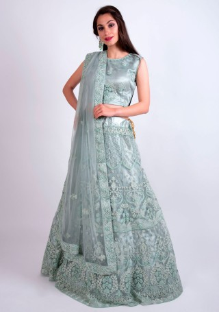 Silver Grey Heavy Coding Embroidered Net Lehenga Choli