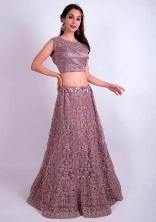 Dusty Lavender Heavy Coding Embroidered Net Lehenga Choli