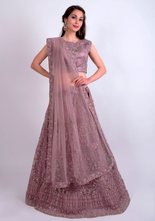 Dusty Lavender Heavy Coding Embroidered Net Lehenga Choli