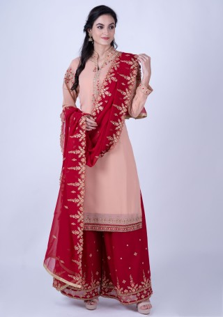 Peach Georgette Embroidered Kurta With Palazzo And Dupatta