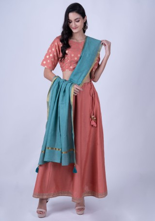 Peach Poly Silk Top with Skirt and Dupatta