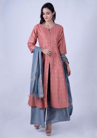 Peach-Colored Anarkali Kurta with Grey Palazzos & Dupatta