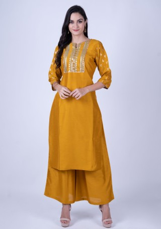 Mustard Yellow Foil Print Kurta with Palazzos