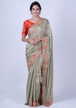 Embroidered Satin Silk Olive Green Saree with Blouse Piece