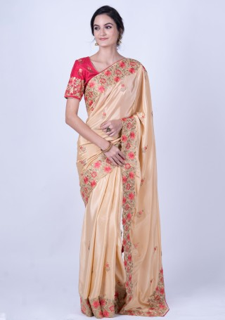 Beige Gold Heavy Border Embroidered Saree