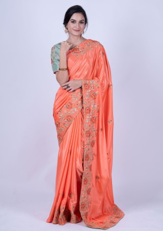 Coral Heavy Border Embroidered Saree with Semi-stitched Blouse