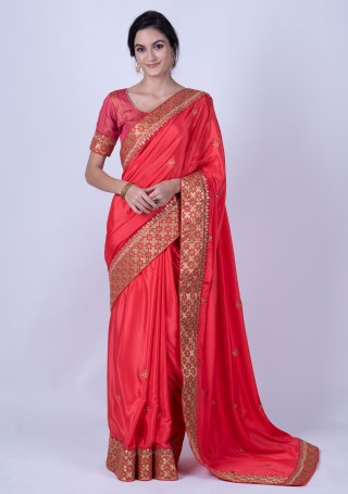 Red and Gold-Colored Satin Silk Embellished Saree
