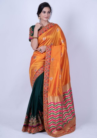 Orange and Green Embroidered Party Wear Saree